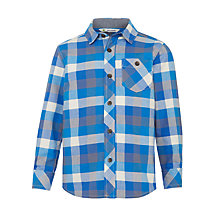 Buy John Lewis Boy Check Twill Shirt, Blue/Grey Online at johnlewis.com