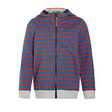 Buy John Lewis Zipped Stripe Hoodie, Blue Marl/Coral Online at johnlewis.com