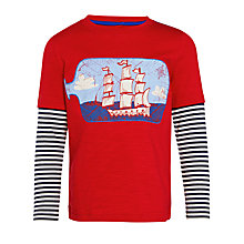 Buy John Lewis Boy Bottle Ship Long Sleeve Mock T-Shirt, Red Online at johnlewis.com