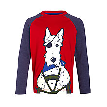 Buy John Lewis Sailor Dog Applique T-Shirt, Blue/Burgundy Online at johnlewis.com