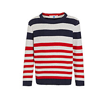 Buy John Lewis Boys' Nautical Stripe Jumper, Navy/Red Online at johnlewis.com