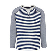 Buy John Lewis Boys' Reverse Stripe Long Sleeve T-Shirt, Blue/Grey Online at johnlewis.com