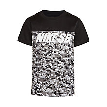 Buy Nike SB Boys' Mesh Blocked Dri-Fit T-Shirt, Black Online at johnlewis.com