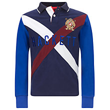 Buy Hackett London Boys' Long Sleeve Cross Pattern Logo Rugby Shirt, Navy Online at johnlewis.com