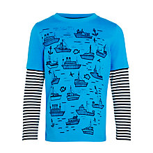 Buy John Lewis Boy Ship Print Long Sleeve Mock T-Shirt, Blue Online at johnlewis.com