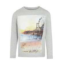 Buy John Lewis Boys' Pier Print Long Sleeve T-Shirt, Stone Marl Online at johnlewis.com
