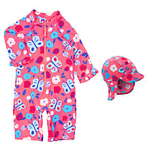 Buy John Lewis Baby Butterfly Sunproof Rash Vest Swimsuit & Sun Hat, Pink Online at johnlewis.com