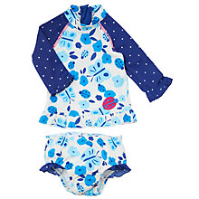 Buy John Lewis Baby Floral Print Long Sleeve Tankini, Blue Online at johnlewis.com