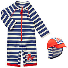 Buy John Lewis Baby Octopus Sunproof Rash Vest Swimsuit & Sun Hat, Navy/White Online at johnlewis.com