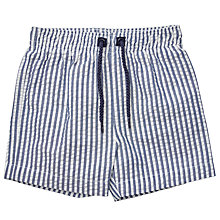 Buy John Lewis Baby Seersucker Swim Shorts, Blue/White Online at johnlewis.com