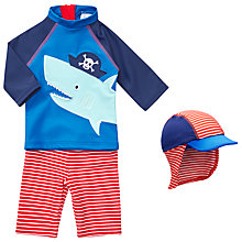 Buy John Lewis Baby Pirate Shark 3-Piece Swimsuit and Hat Set, Blue Online at johnlewis.com