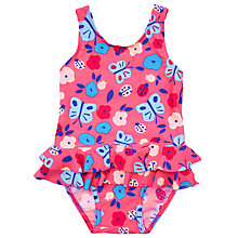 Buy John Lewis Baby Butterfly Skirt Swimsuit, Pink Online at johnlewis.com
