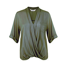Buy Miss Selfridge Draped Blouse, Green Online at johnlewis.com