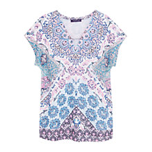 Buy Violeta by Mango Printed Linen T-Shirt, Bright Pink Online at johnlewis.com