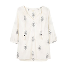 Buy East Embroidered Leaf Tunic Top, Ivory Online at johnlewis.com