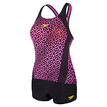 Buy Speedo Monogram All Over Print Boyleg Tankini, Black/Pink Online at johnlewis.com
