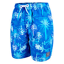 "Buy Speedo Palm Print Leisure 18"" Watershort Swim Shorts, Blue Online at johnlewis.com"