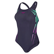 Buy Speedo Allover Powerback Swimsuit, Navy Online at johnlewis.com