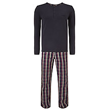Buy BOSS Long Sleeve T-Shirt and Check Pants Pyjama Set, Blue/Purple Online at johnlewis.com