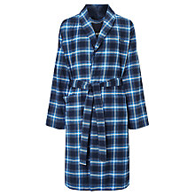 Buy BOSS Brushed Check Cotton Robe, Blue Online at johnlewis.com