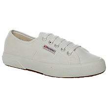 Buy Superga 2750 Flat Lace Up Trainers, White Cotton Online at johnlewis.com
