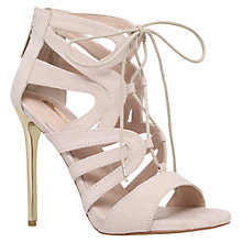 Buy Carvela Game Lace Up Stiletto Sandals, Nude Online at johnlewis.com