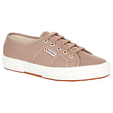 Buy Superga 2750 Flat Lace Up Trainers, Mushroom Cotton Online at johnlewis.com