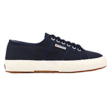 Buy Superga 2750 Flat Lace Up Trainers, Navy Cotton Online at johnlewis.com
