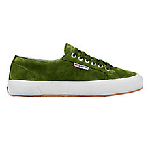 Buy Superga 2750 Flat Lace Up Trainers, Green Suede Online at johnlewis.com