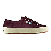 Buy Superga 2750 Flat Lace Up Trainers, Burgundy Croc Online at johnlewis.com