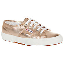 Buy Superga 2750 Flat Lace Up Trainers, Rose Gold Cotton Online at johnlewis.com