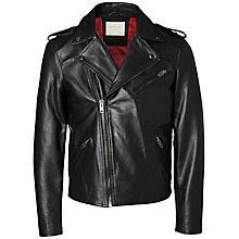 Buy Selected Homme + Kobenhavn Shubike Leather Jacket, Black Online at johnlewis.com