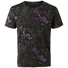 Buy Selected Homme Army Print T-Shirt, Dark Green Online at johnlewis.com