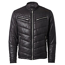 Buy Selected Homme + Kobenhavn Biker Bomber Jacket, Black Online at johnlewis.com