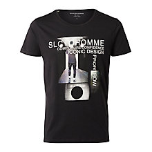 Buy Selected Homme + Kobenhavn Val Graphic T-Shirt, Black Online at johnlewis.com