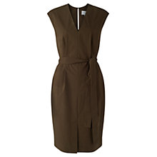 Buy Jigsaw Poplin V-Neck Dress, Khaki Online at johnlewis.com