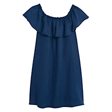 Buy Mango Ruffled Soft Fabric Dress, Navy Online at johnlewis.com