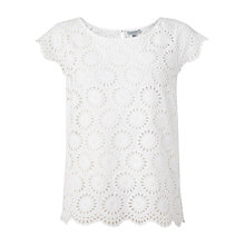 Buy Jigsaw Embroidered Floral Cotton Top, White Online at johnlewis.com