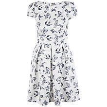 Buy Closet Bird Box Pleat Dress, White / Black Online at johnlewis.com