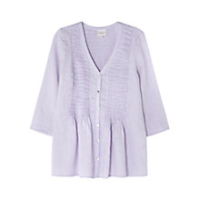 Buy East Linen Pintuck Blouse, Lavender Online at johnlewis.com