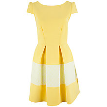 Buy Closet Jacquard Border V-Back Dress, Yellow Online at johnlewis.com