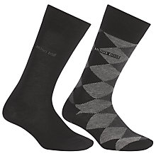 Buy BOSS Diamond and Solid Wool Blend Socks, Pack of 2, Black/Grey Online at johnlewis.com