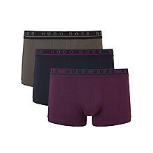 Buy BOSS Stretch Cotton Trunks, Pack of 3, Black/White/Grey Online at johnlewis.com