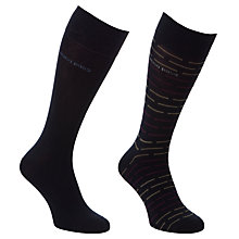 Buy BOSS Stripe and Plain Socks, Pack of 2 Online at johnlewis.com