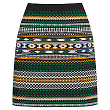 Buy Warehouse Aztec Jacquard Skirt, Dark Green Online at johnlewis.com