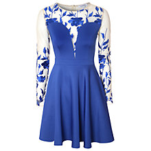 Buy True Decadence Floral Mesh Skater Dress, Blue Online at johnlewis.com