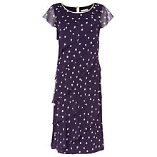 Buy Jacques Vert Spot Asymmetric Tiers Dress, Dark Purple Online at johnlewis.com
