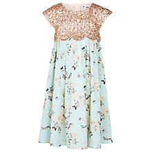 Buy John Lewis Girls' Scallop Empire Line Dress, Blue/Gold Online at johnlewis.com