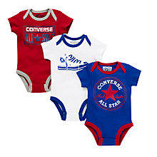 Buy Converse Baby's Core Bodysuit, Pack of 3, Blue Online at johnlewis.com