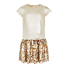 Buy John Lewis Girls' Sequin Embellished Dress, Gold Online at johnlewis.com